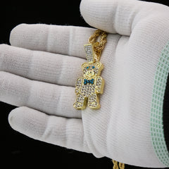 Bear 4 Pcs Set Clear Cz Cuban, Tennis & Rope Chain Bundle Gold PT
