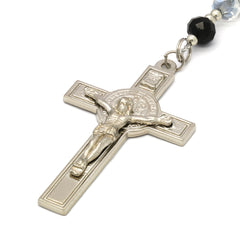 8MM Black/Clear Crystal Rosary With Cross Pendant