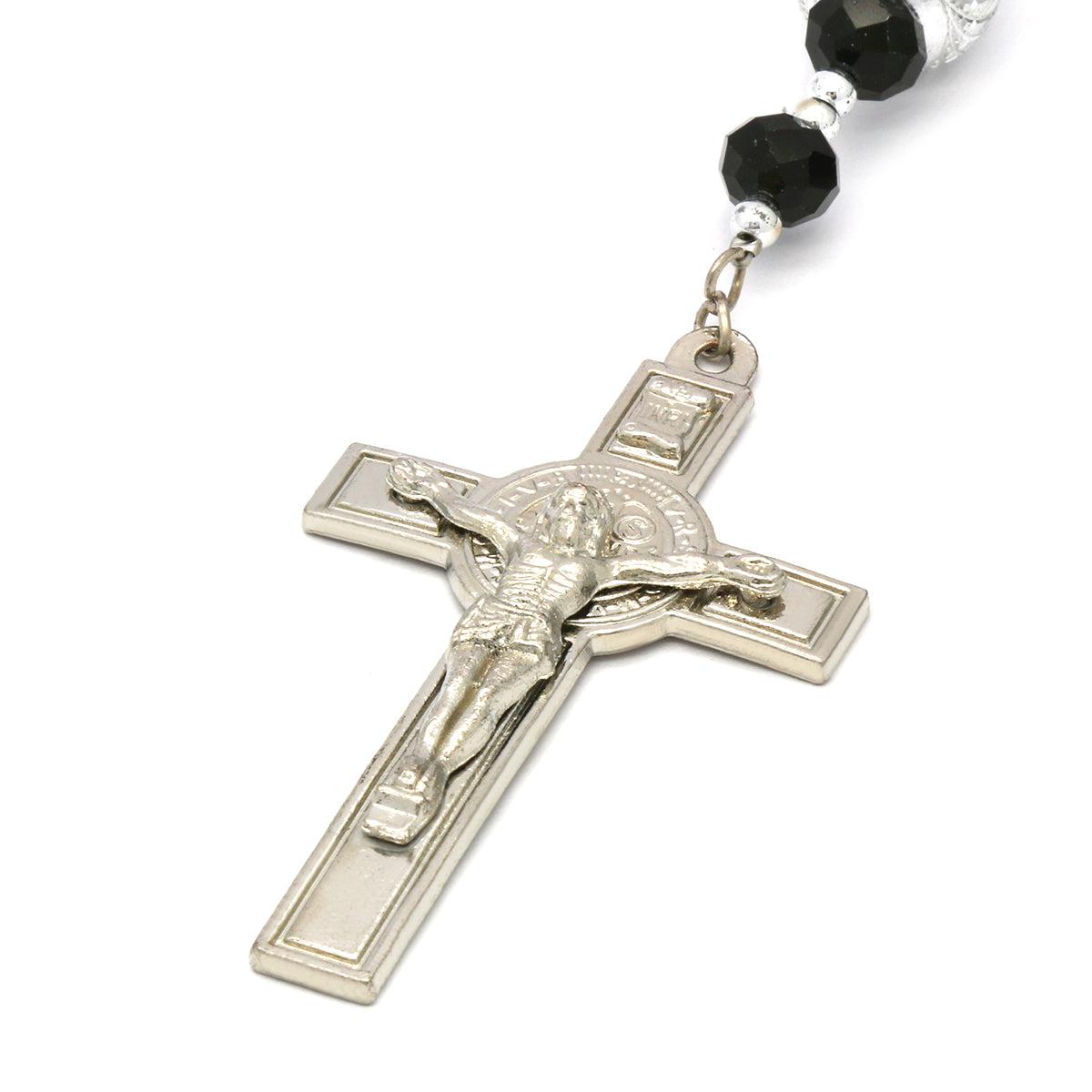 8MM Black Crystal Rosary With Cross Pendant