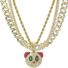 High Fashion Gold Plated AB Cuban Tennis Chains & Fully Cz Clown Pendant