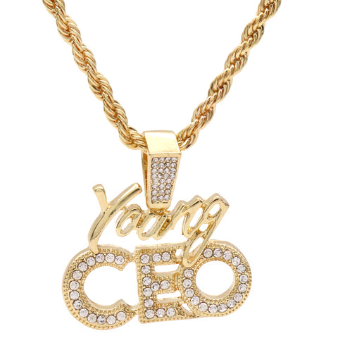 "Young CEO Iced Pendant 24"" Inch 4mm Rope Chain"