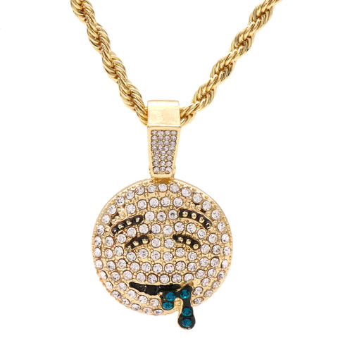 "Lit Emoji Face Fully Iced Pendant 24"" Inch 4mm Rope Chain"