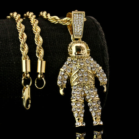 "Space Man Iced Pendant 14K Gold 24"" Inch 4mm Rope Choker Chain"