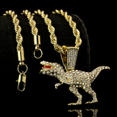 "T-rex Dinosaur Iced Pendant 14K Gold 24"" Inch 4mm Rope Choker Chain"