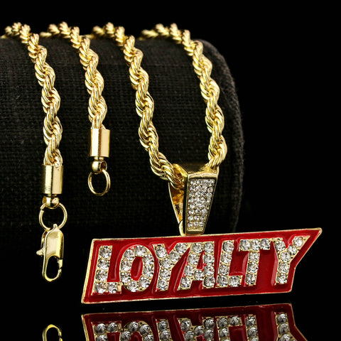 "LOYALTY Fully Iced Pendant 14K Gold 24"" Inch 4mm Rope Choker Chain"