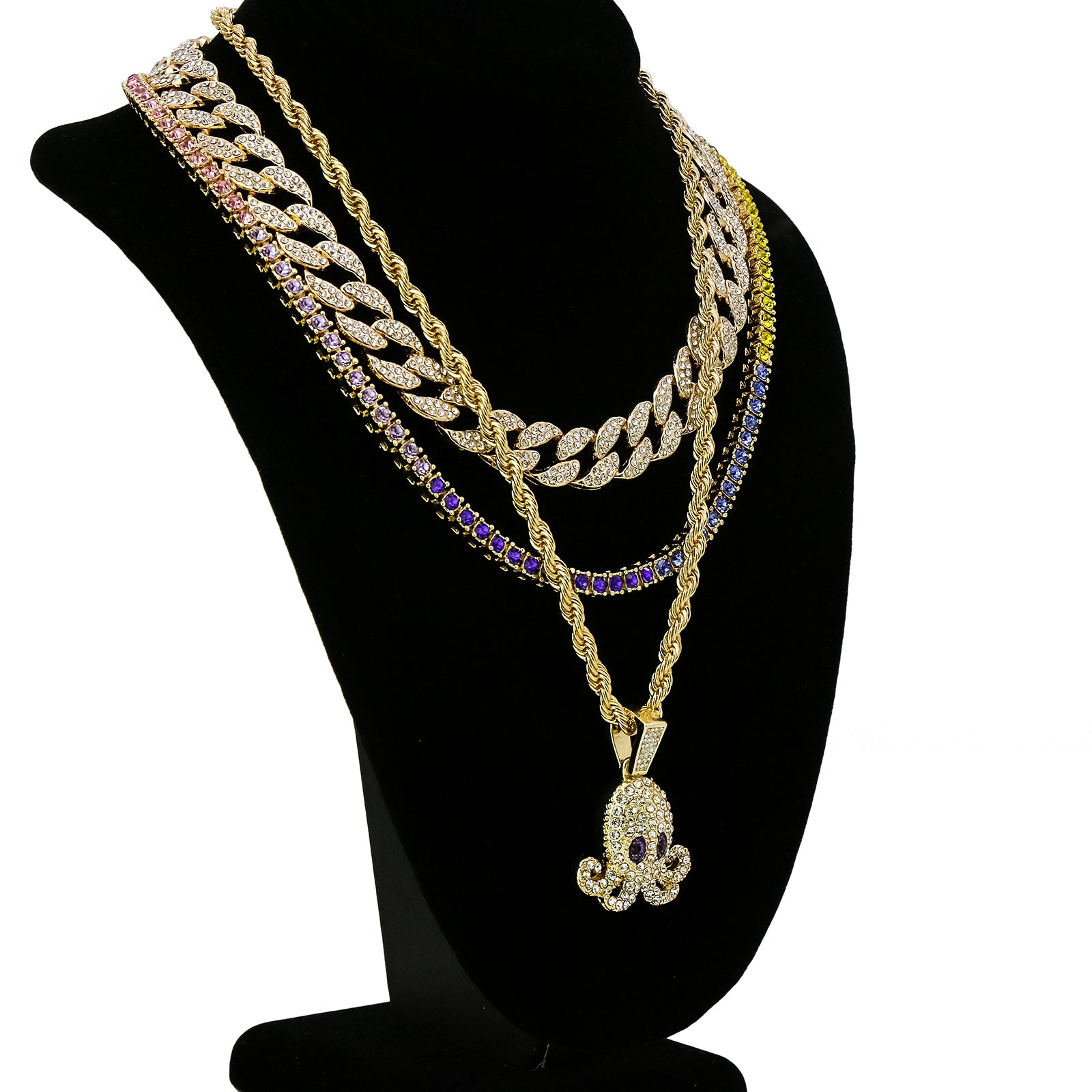 Squid 4 Pcs Set Cuban, Tennis & Rope Chain Bundle Gold PT