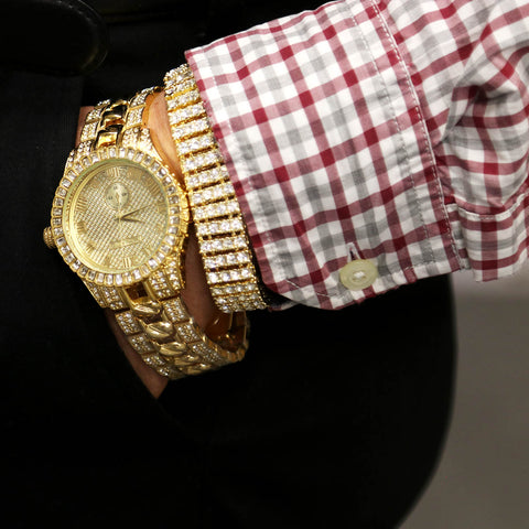 Copy of TK Gold Ice Out Techno KING Watch & Bracelet SET