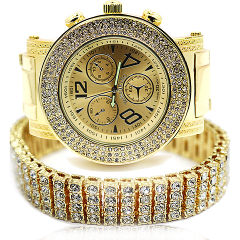 TK3 Gold Ice Out Techno KING Watch & Bracelet SET