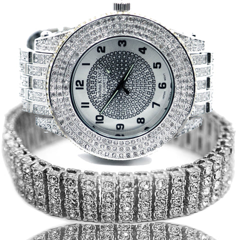 White Gold Ice Out Techno KING Watch & Bracelet SET 5