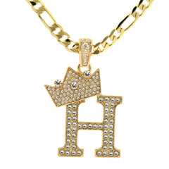 FIGARO CHAIN ALPHABET PENDANT CROWN A-Z