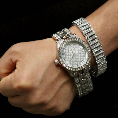 White Gold Ice Out Techno KING Watch & Bracelet SET 6