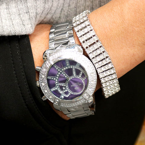White Gold Ice Out Ice Master Watch & Bracelet SET 8 Purple Face