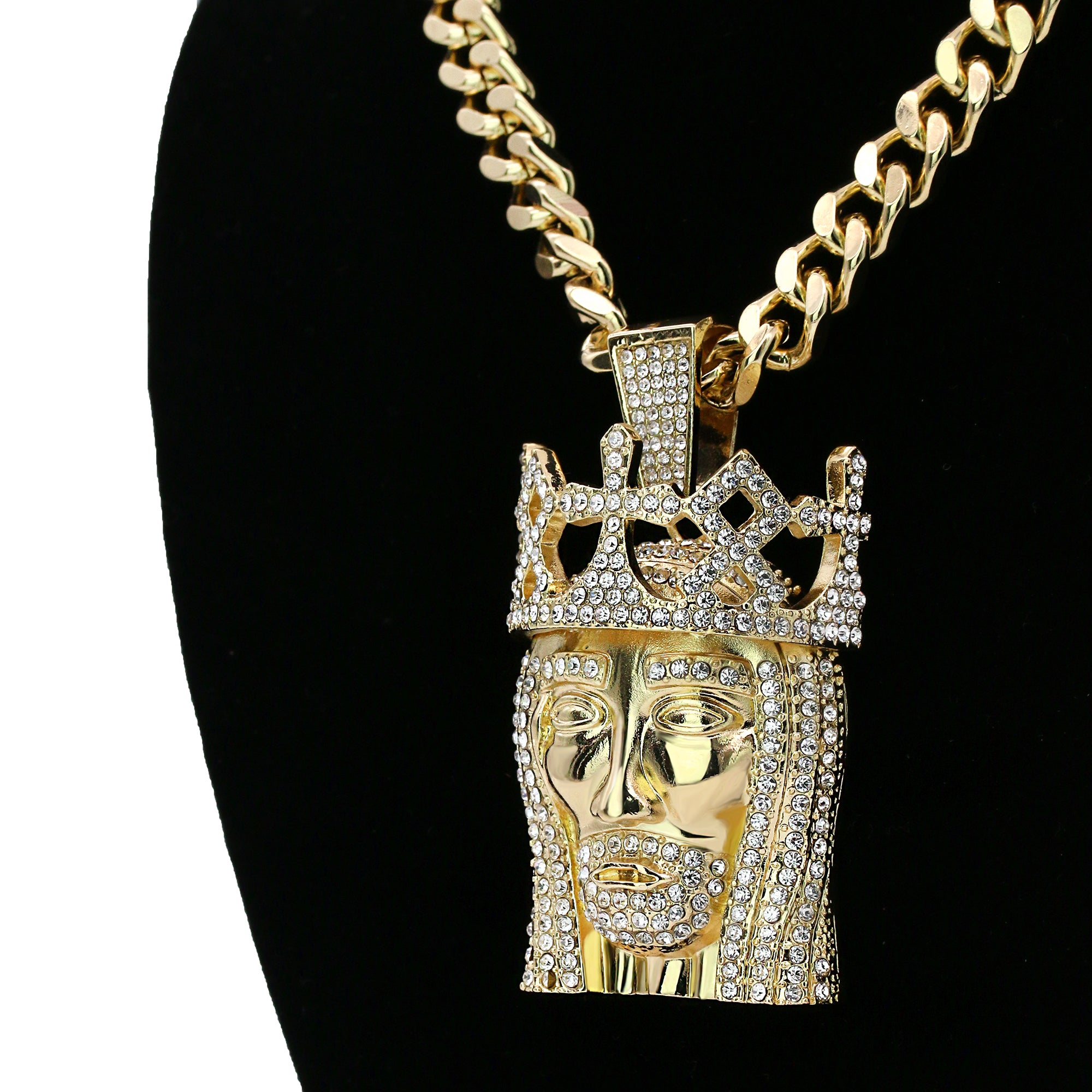 "JESUS ROYAL CROWN PENDANT TWO 30"" CUBAN CHAIN"