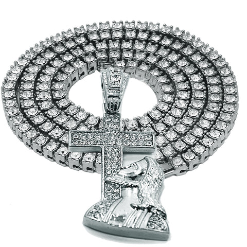 "White GOLD TENNIS CHAIN 18"" 20"" Jesus Cross Pendant Bundle"