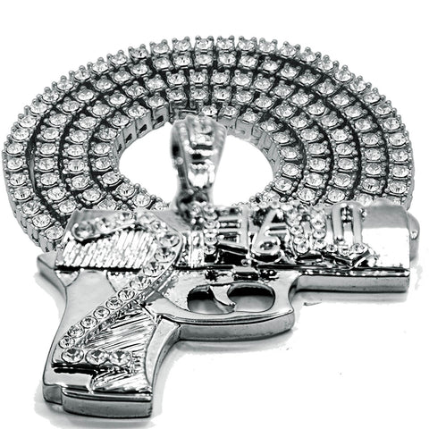"White GOLD TENNIS CHAIN 18"" 20"" Gun Pendant Bundle"