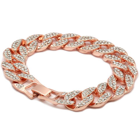 Cuban BRACELET Rose Gold 15 mm 8.5""