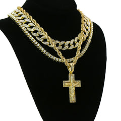 Jesus Cross 4 Pcs Set Clear Cz Cuban, Tennis & Rope Chain Bundle Gold PT