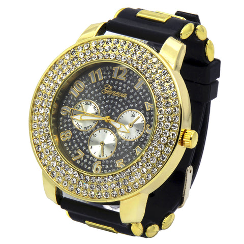 Gold Geneva Black Silicone Band Watch