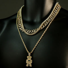 "High Fashion Gold Plated 20"" Fully Cz Cuban Tennis Chains & Bear Tie Pendant"