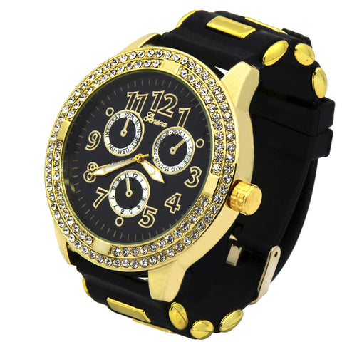 Gold Geneva Bold # Silicone Band Watch