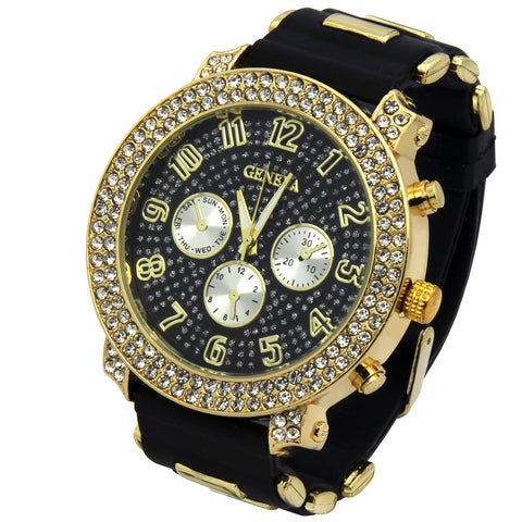 Gold 2line Geneva Silicone Band Watch