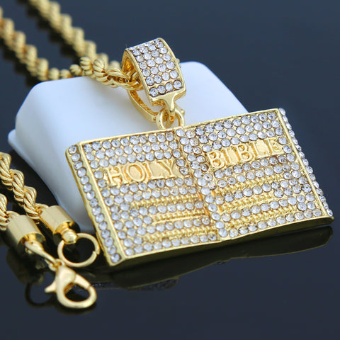 BIBLE PENDANT WITH GOLD ROPE CHAIN