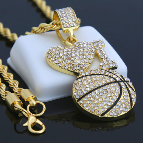 I Love Basketball Pendant with Gold Rope Chain