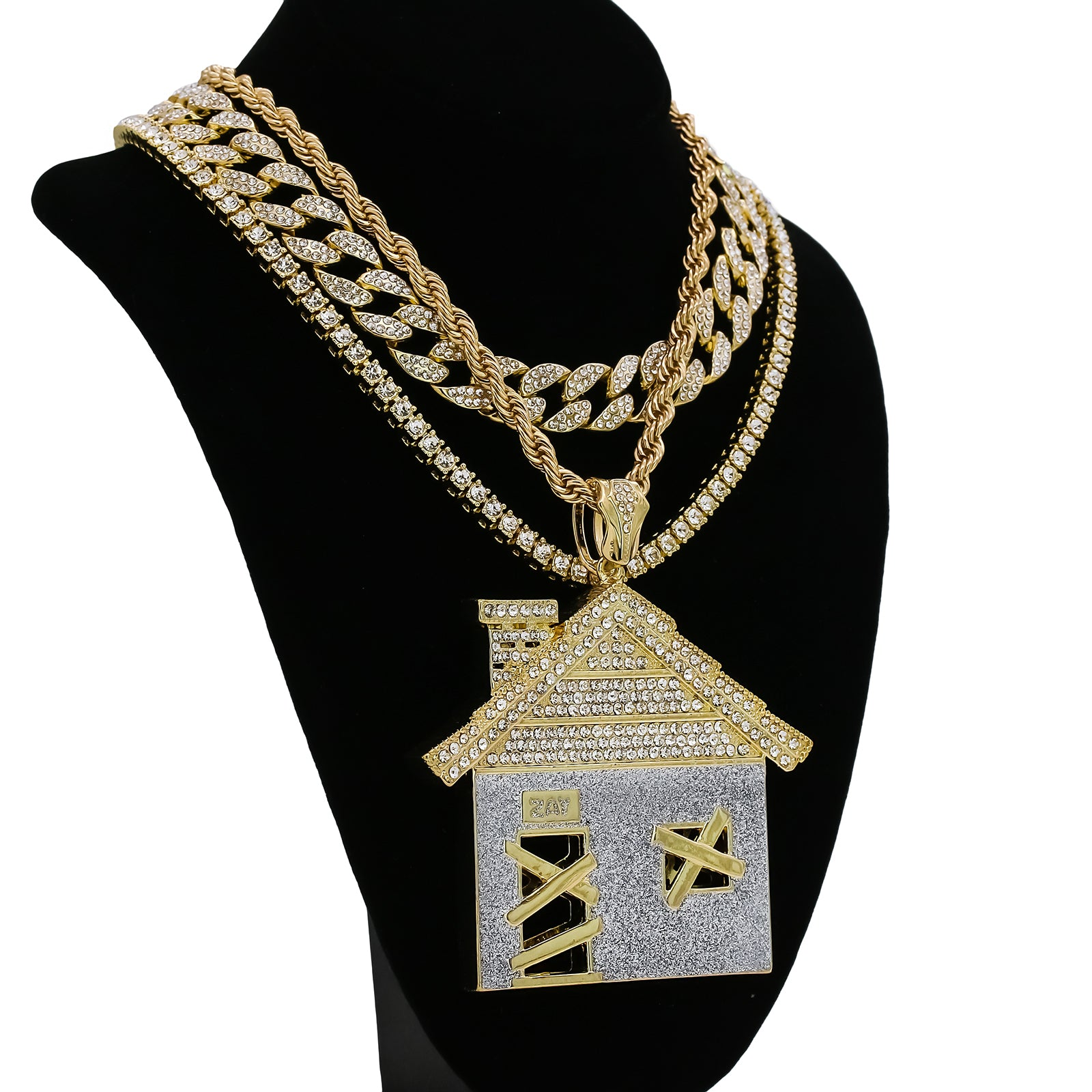 Copy of House Stardust 4 Pcs Set Clear Cz Cuban, Tennis & Rope Chain Bundle Gold PT