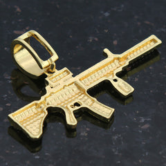 Ak-47 PENDANT WITH GOLD ROPE CHAIN
