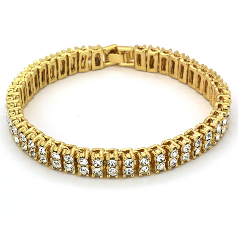 TENNIS BRACELET 2 LINE GOLD/CLEAR