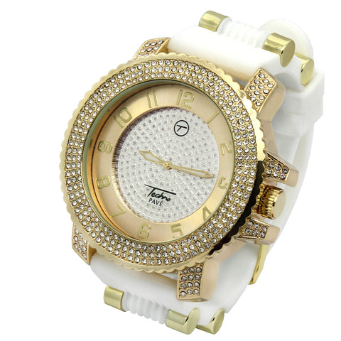 Gold Techno Pave White Silicone Band Watch