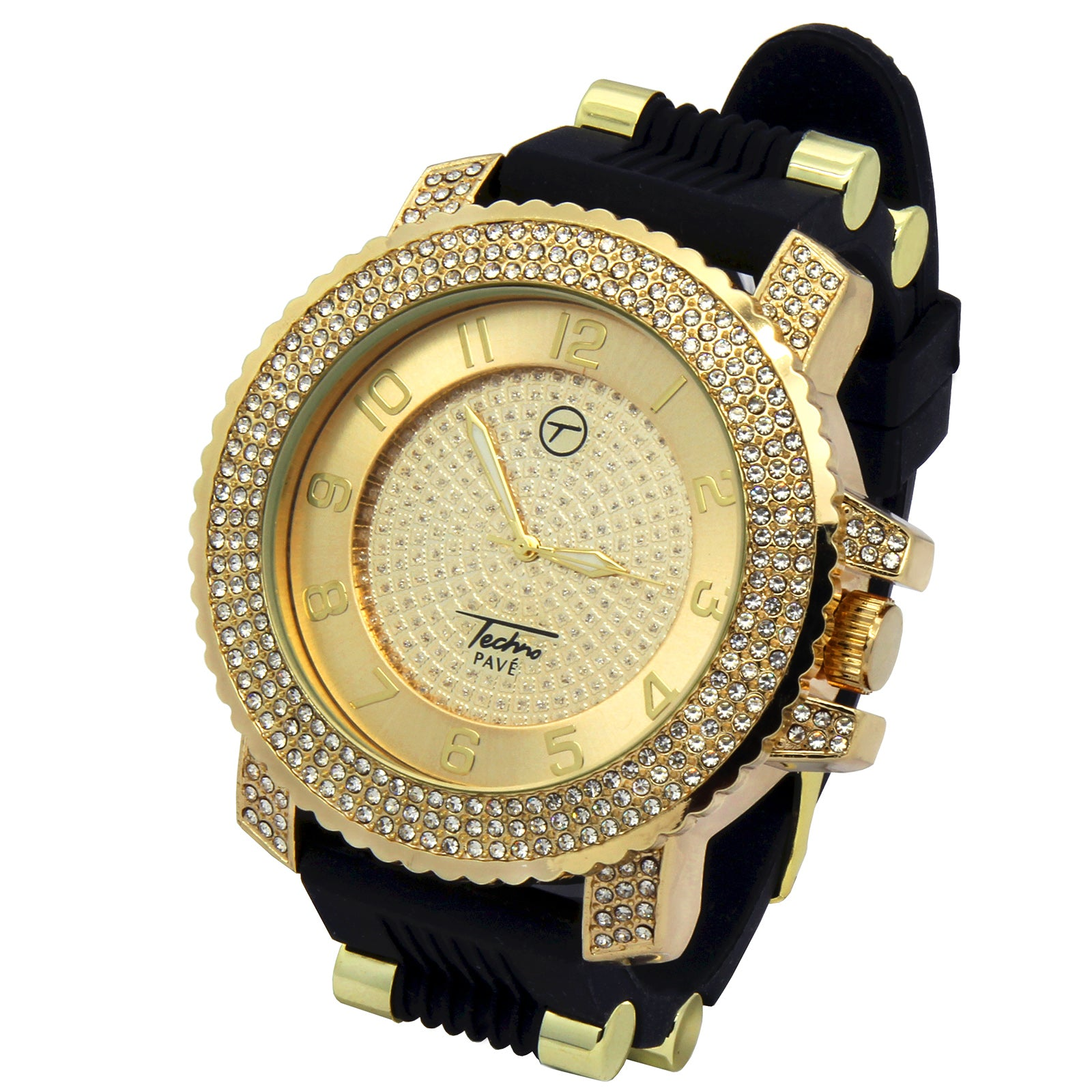 Gold Techno Pave Black Silicone Band Watch