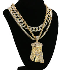 Jesus 4 Pcs Set Clear Cz Cuban, Tennis & Rope Chain Bundle Gold PT