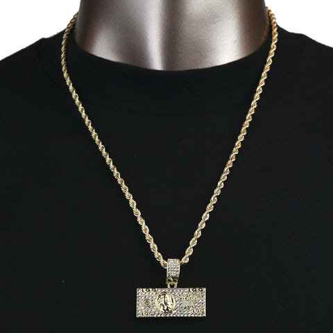 Dollar Bill Pendant with Gold Rope Chain