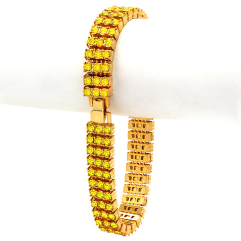 TENNIS BRACELET 3 LINE GOLD/YELLOW