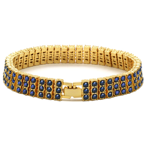 TENNIS BRACELET 3 LINE GOLD/BLUE