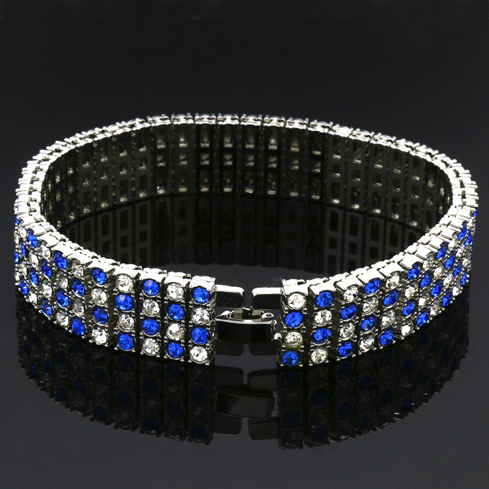 TENNIS BRACELET 4 LINE CLEAR/BLUE