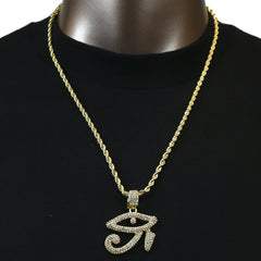 Eye Horus Pendant with Gold Rope Chain
