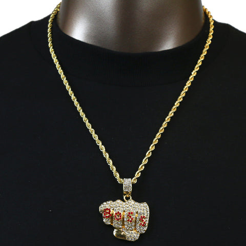 BOSS PENDANT WITH GOLD ROPE CHAIN