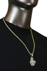 BOXING GLOVE PENDANT WITH GOLD ROPE CHAIN