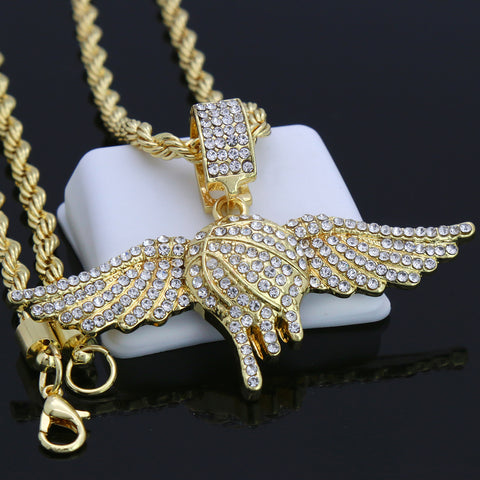 Winged Drip Basketball Pendant with Gold Rope Chain