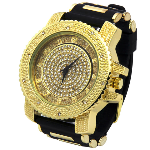 Gold Ice Out Techno Pave Moving Dial Watch