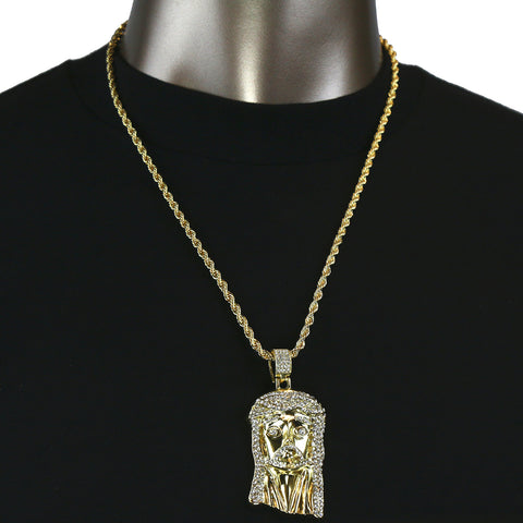 Jesus Face Pendant with Gold Rope Chain