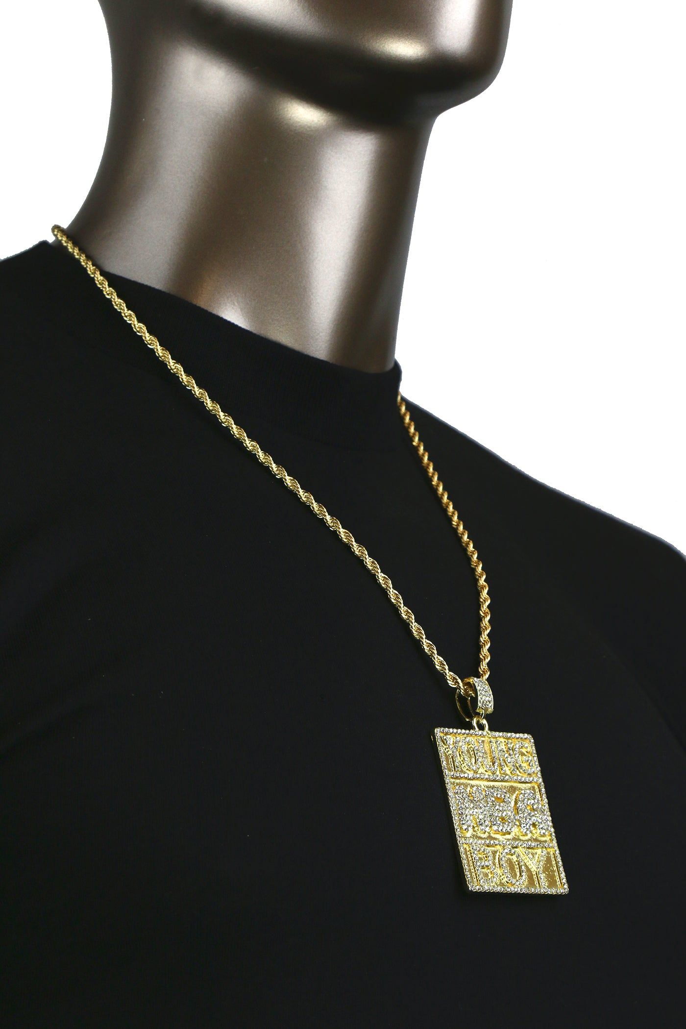 Young NBA Boy Pendant with Gold Rope Chain