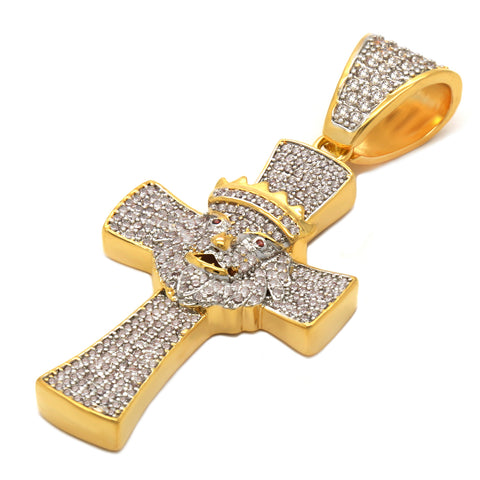 CROWN LION CROSS PENDANT