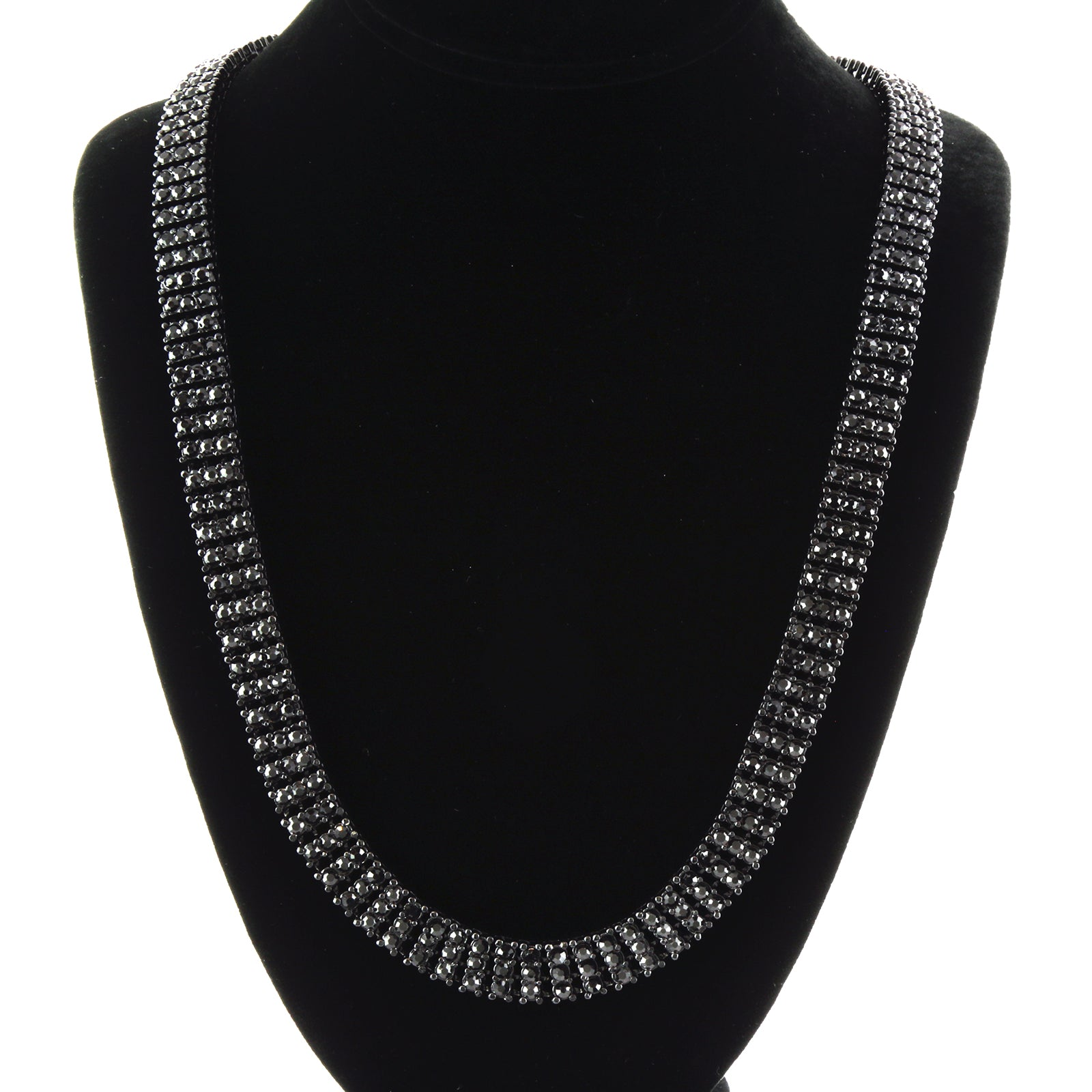 3 ROW ICED-OUT TENNIS BLACK CHAIN 30""