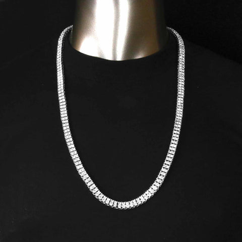 "SILVER 2 ROW  30"" TENNIS CHAIN"
