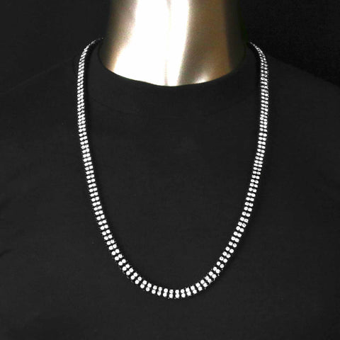 "BK/CLEAR 2 ROW 30"" TENNIS CHAIN"