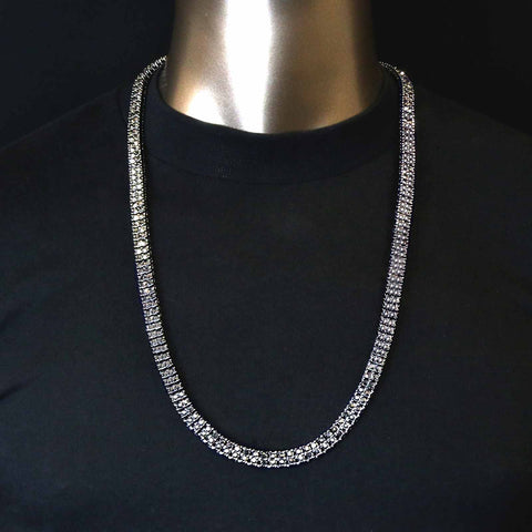 "HEMATITE 2 ROW 30"" TENNIS CHAIN"
