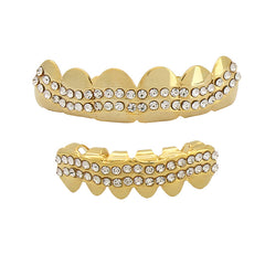GRILLZ SET GOLD 2 ROW WAVE CZ